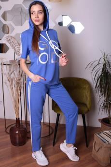 Голубой спортивный костюм с капюшоном ElenaTex со скидкой