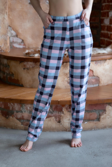 Домашние хлопковые брюки в клетку Lika Dress