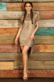 Бежевое платье с бахромой в стиле Дикий запад Mondigo
