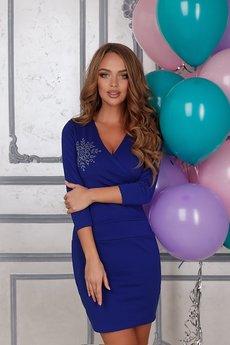 Короткое синее платье Open-Style