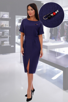 Синее платье футляр с брошью Натали