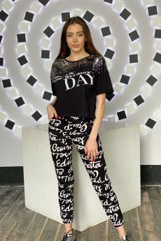 Летние черные брюки с буквами Натали